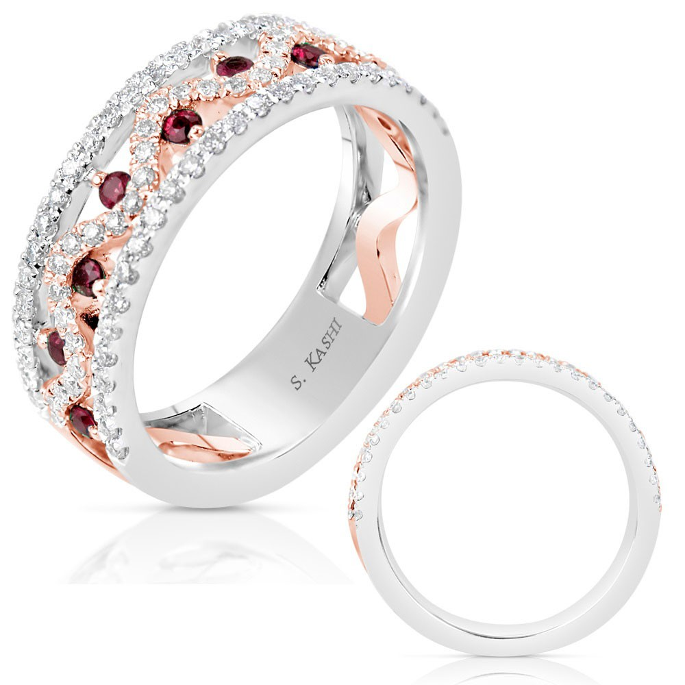 Rose and White Gold Diamond & Ruby Band