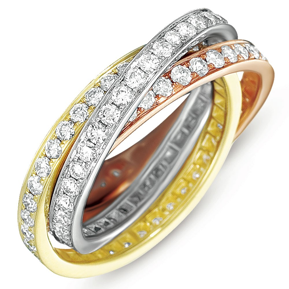 Rose & Yellow & White Pave Bands