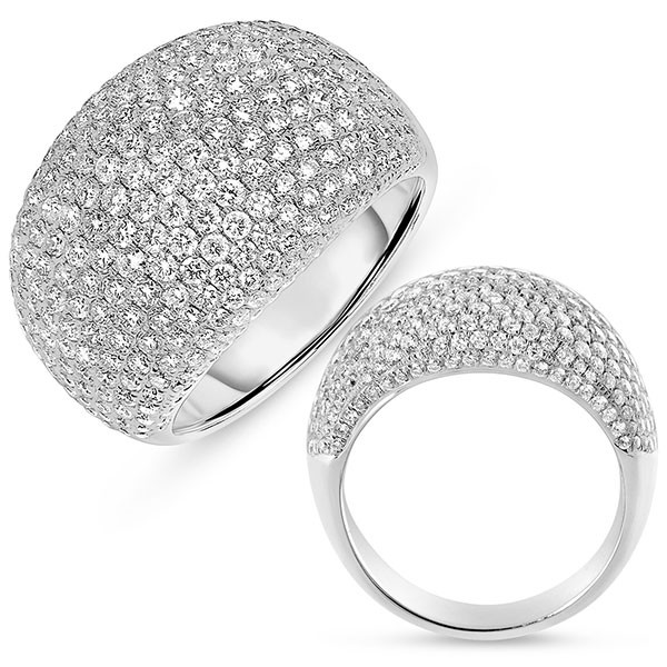 White Gold Domed Pave Ring