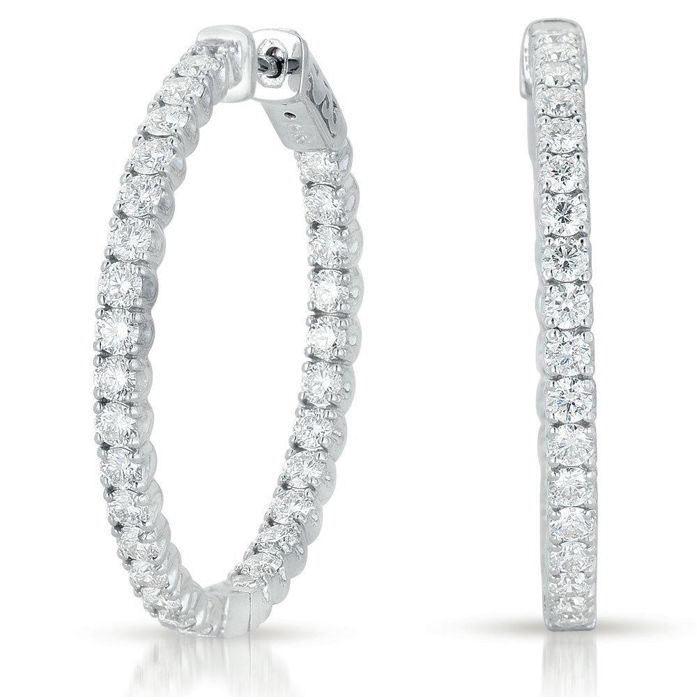 Closed Gallery Diamond Hoop Earrings