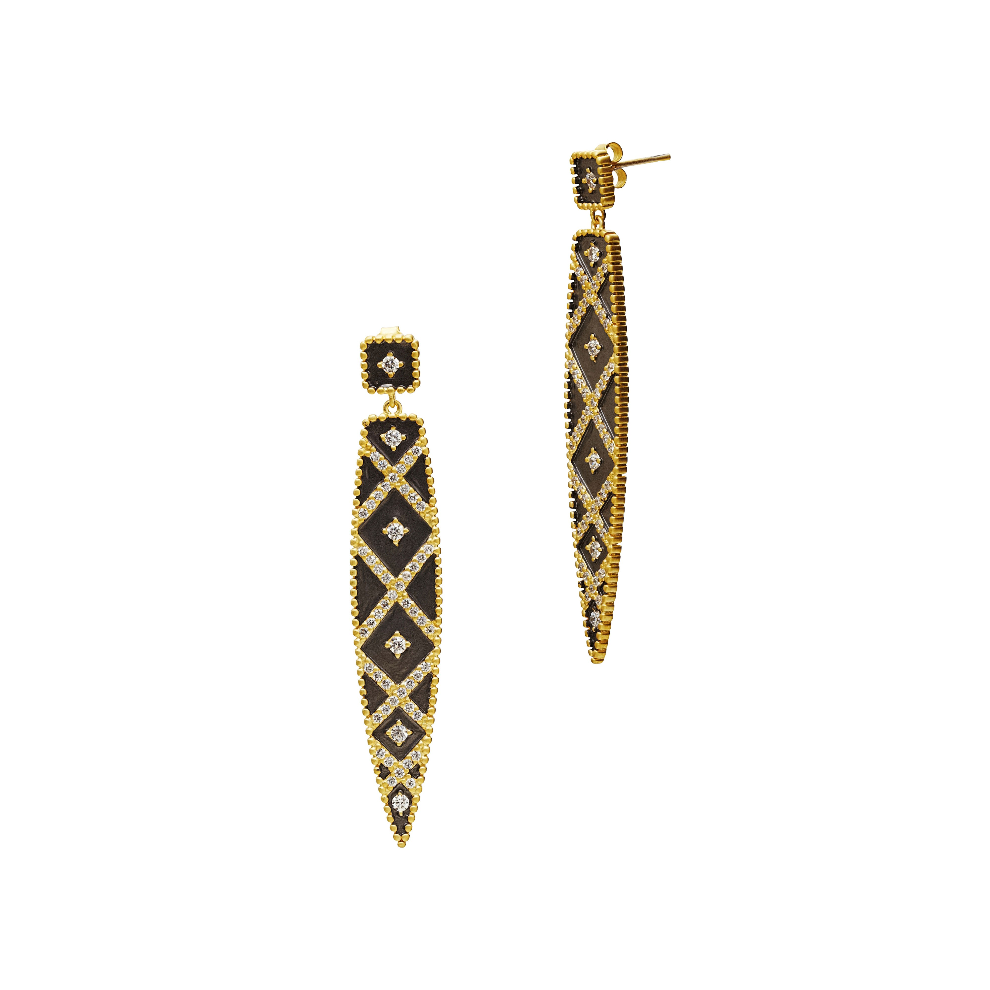 Geometric Stripe Spear Drop Earrings