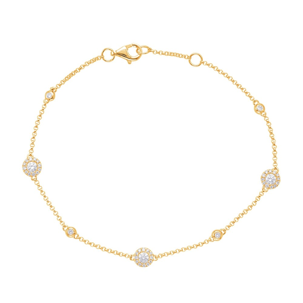 Diamond Halo Chain Bracelet Yellow