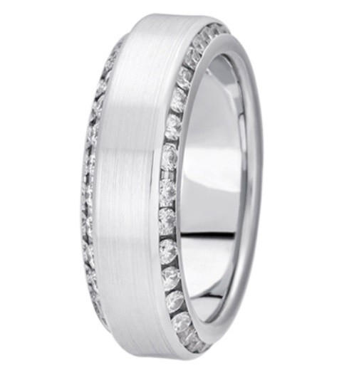 Channel Set Beveled Edge Diamond Band - Platinum
