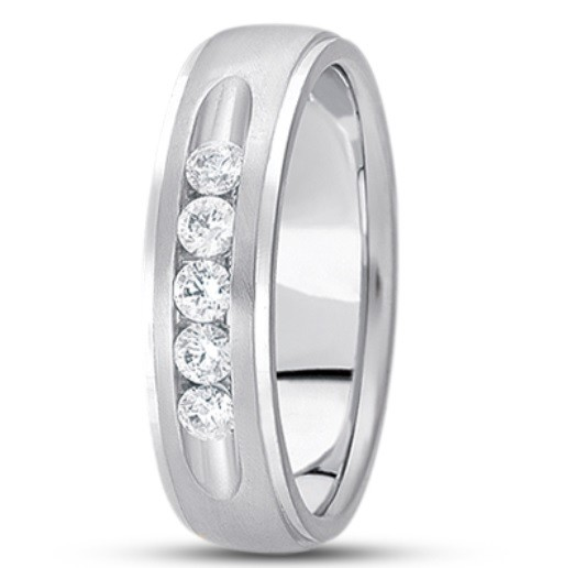 Channel Set Step Edge Diamond Ring - Platinum