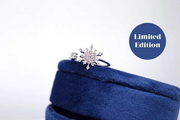 Diamond Snowflake Ring - 14k White Gold