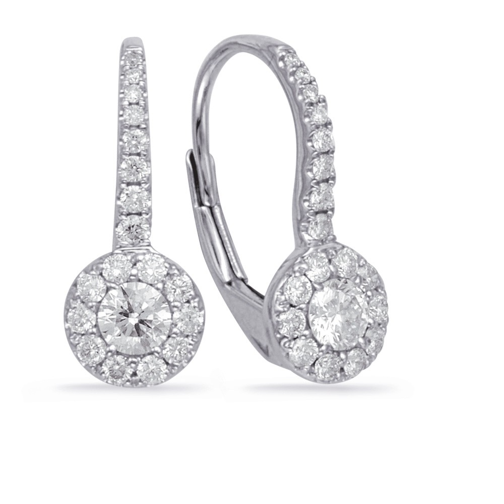 Diamond Leverback Drop Earrings