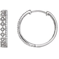 Diamond Hoops with Double Row White