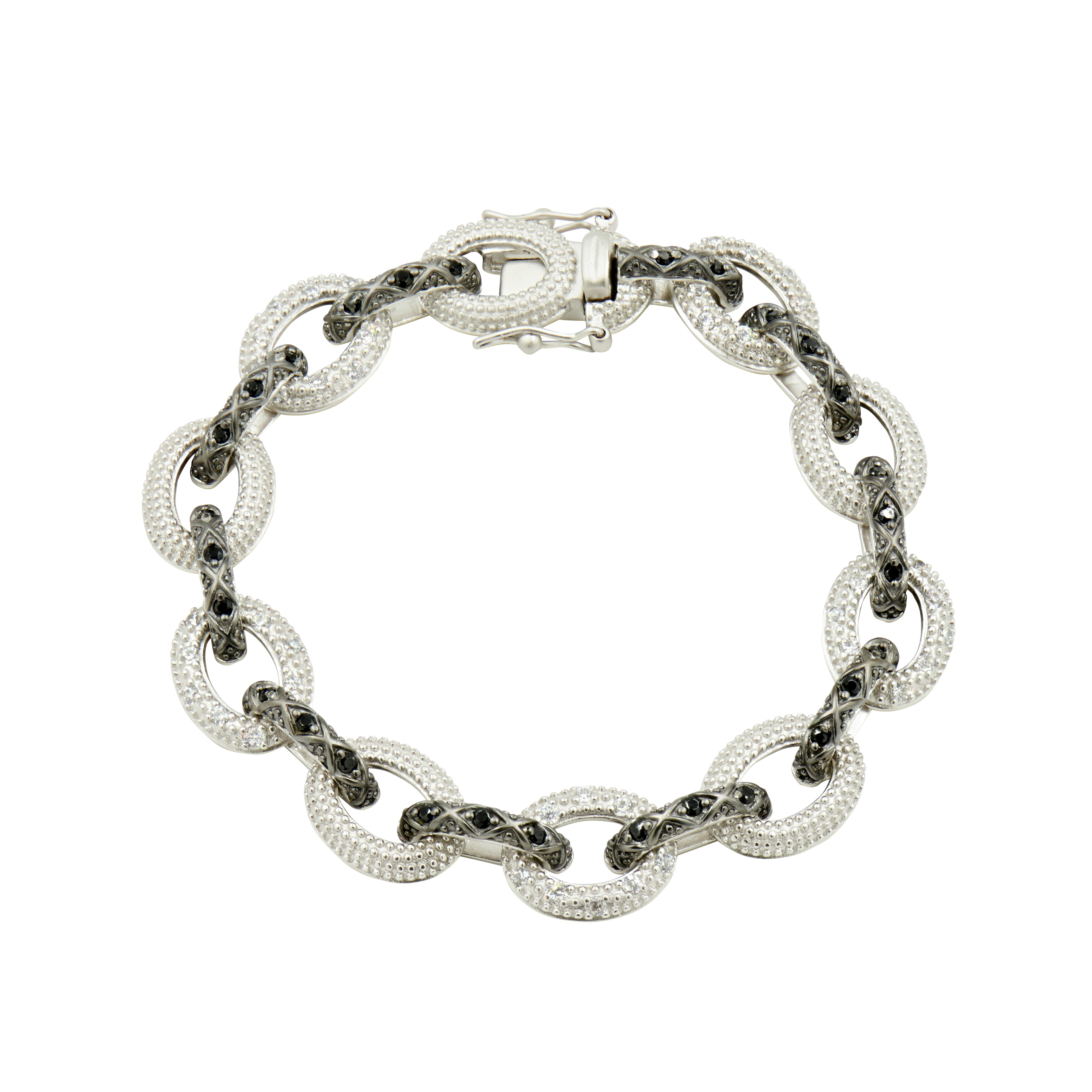INDUSTRIAL FINISH ALTERNATING PAVE LARGE LINK BRACELET