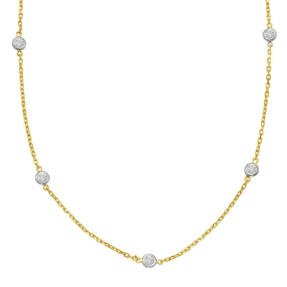 Diamond Bezel Station Necklace