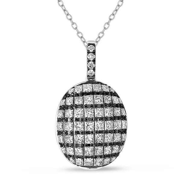 Black and White Oval Diamond Pendant