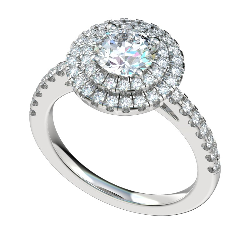 Split Prong Double Halo Engagement Ring - Platinum