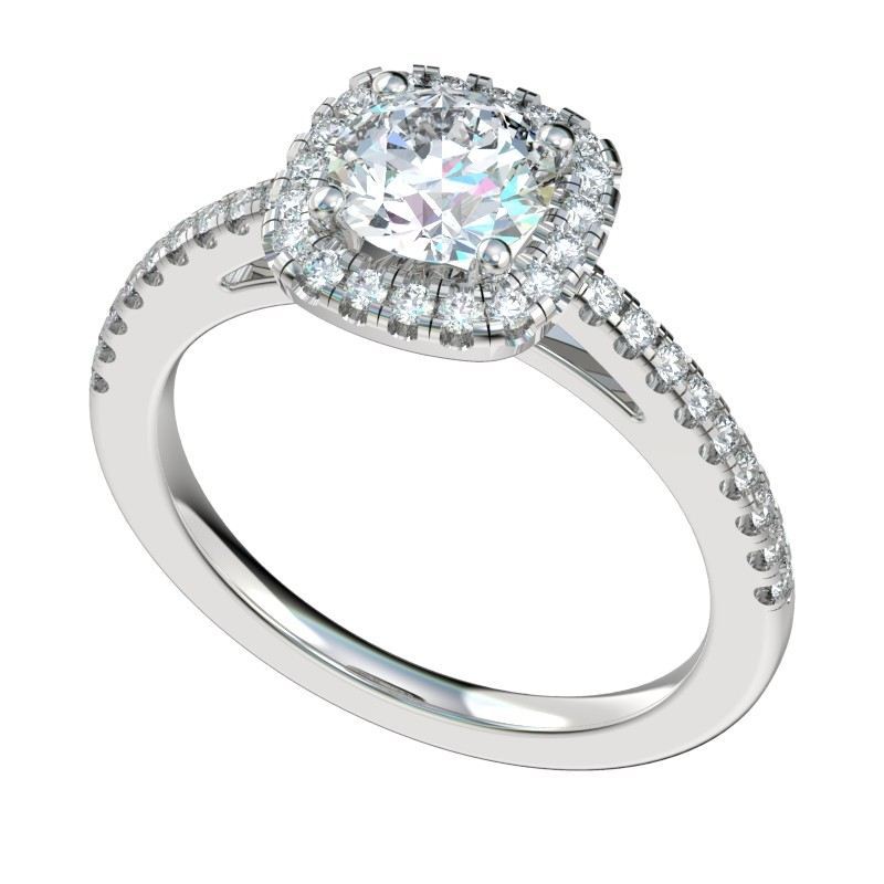 Round Diamond Cushion Halo Engagement Ring - Platinum