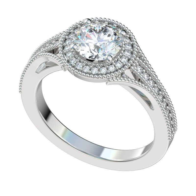 Vintage Flush Milgrain Halo Engagement Ring - Platinum