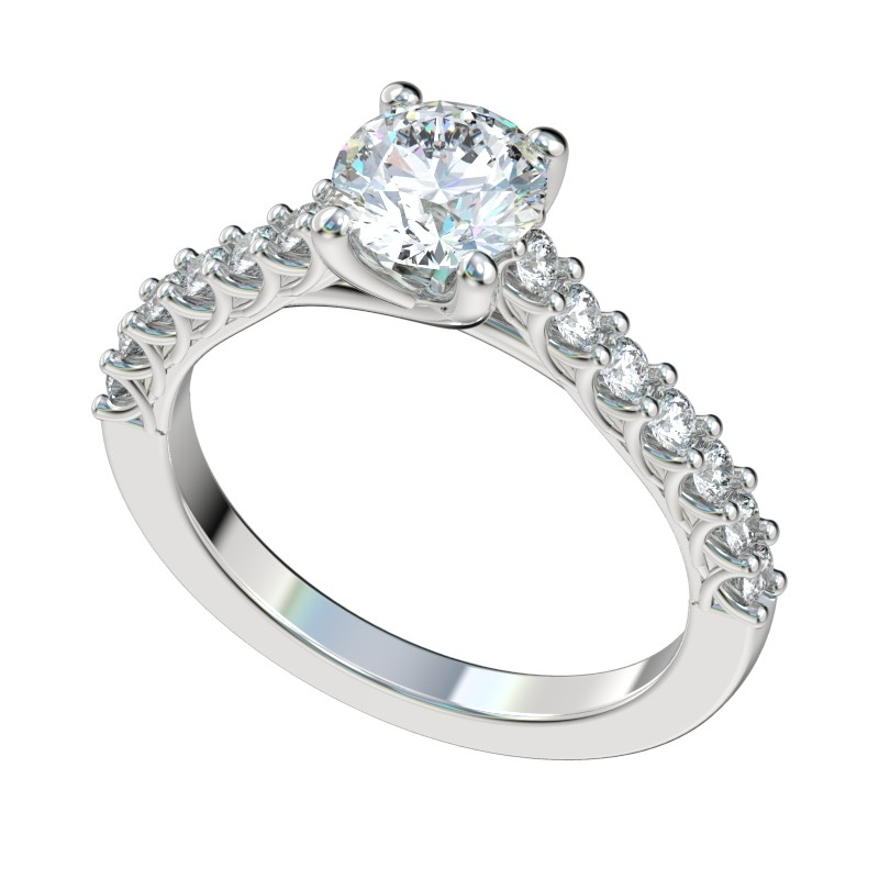 Shared Prong Cathedral Trellis Engagement Ring Ethan