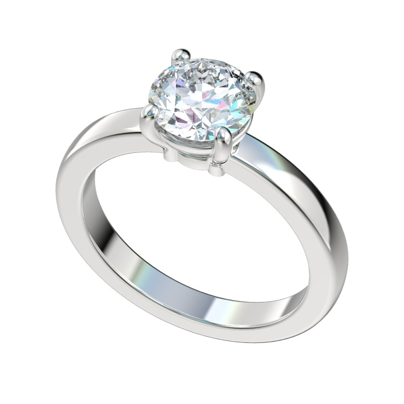 Half Round Basket Solitaire Engagement Ring - Platinum