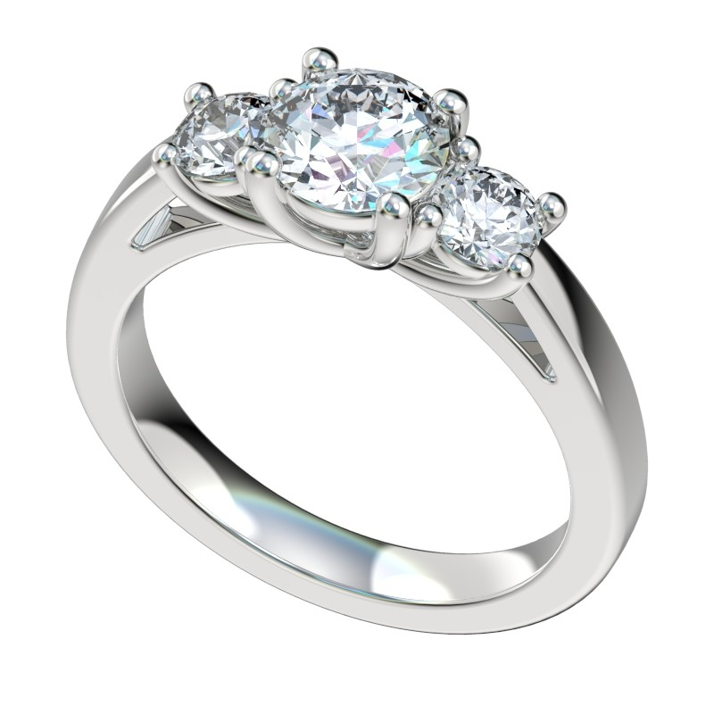 Three Stone Criss Cross Trellis Engagement Ring - Platinum