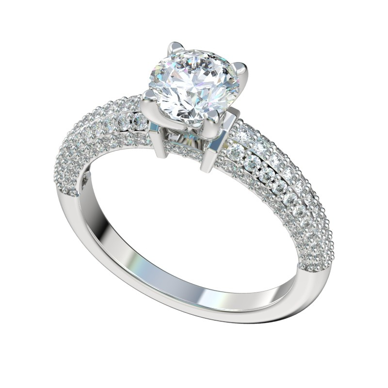 Four Prong Pave Cluster Engagement Ring - Platinum