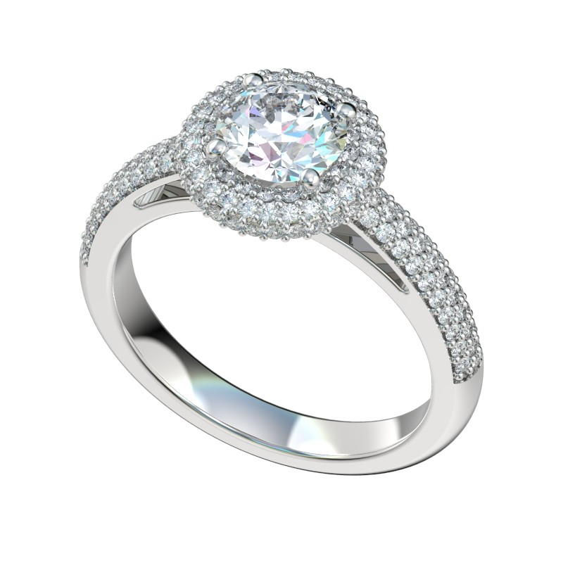 Micropave Three Row Halo Engagement Ring - Platinum