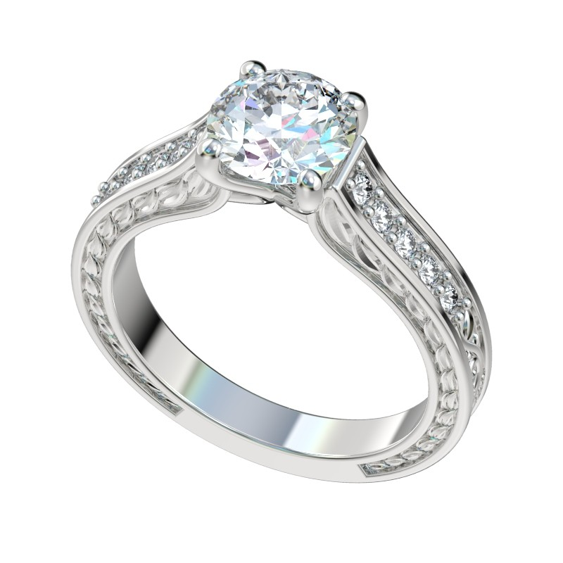 Faux Trellis Vintage Leaf Engagement Ring - Platinum
