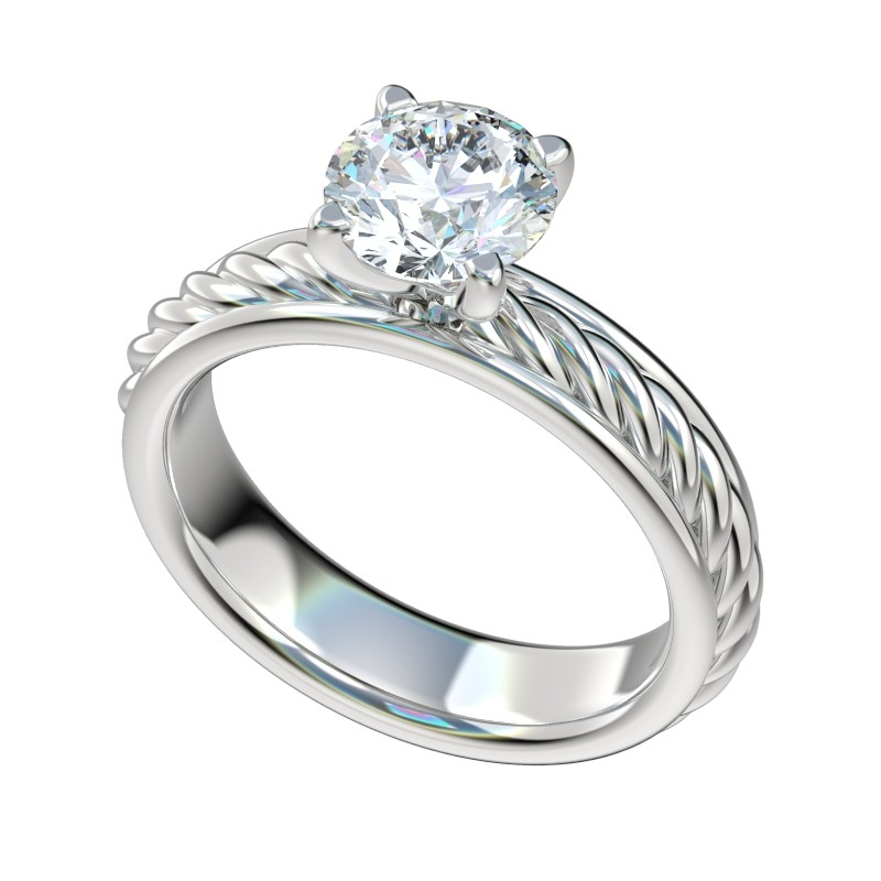 Framed Rope Shank Solitaire Engagement Ring - Platinum