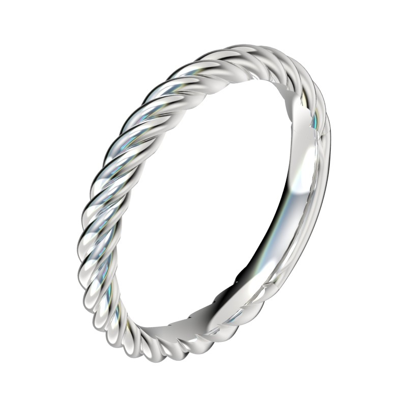 Rope Shank Wedding Band - Platinum