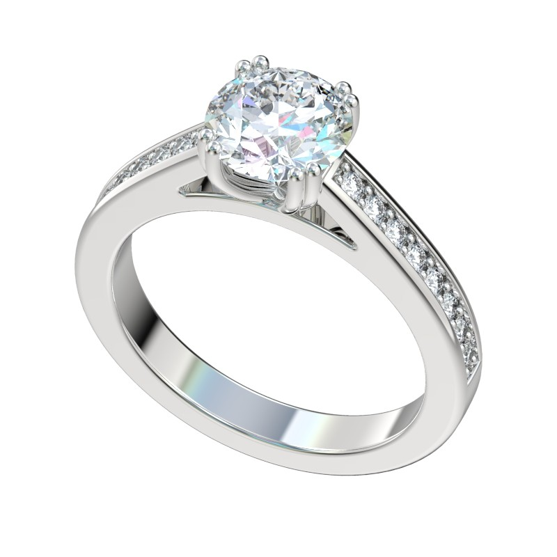 Double Prong Bead Set Cathedral Engagement Ring - Platinum