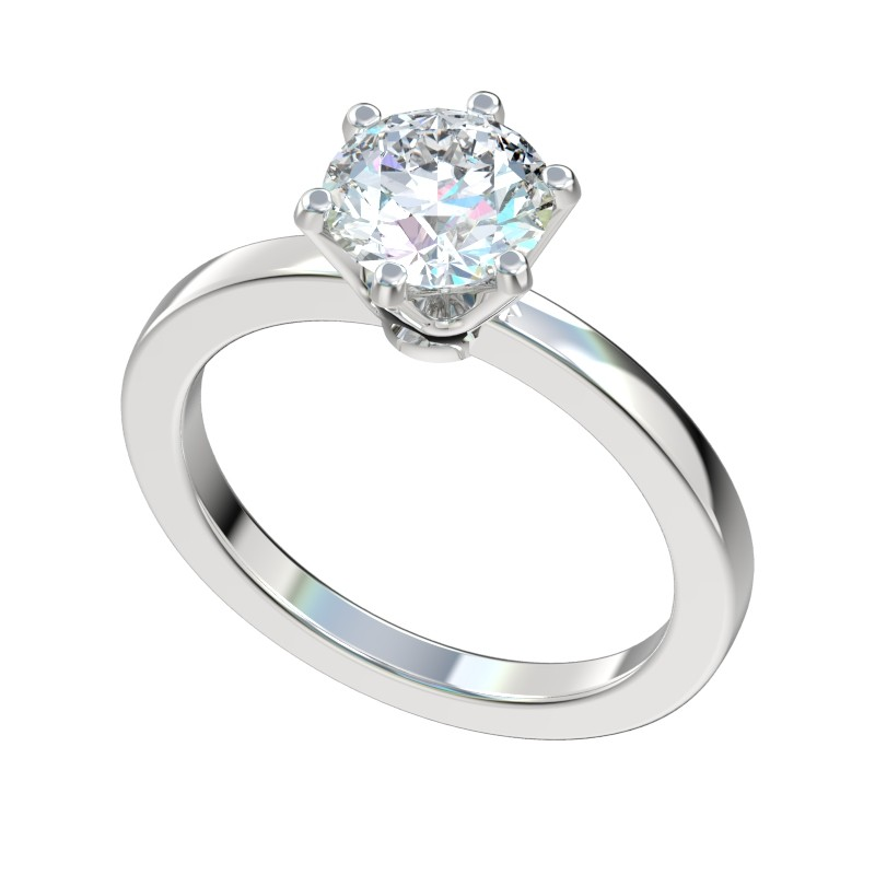 Classic Six Prong Engagement Ring - Platinum