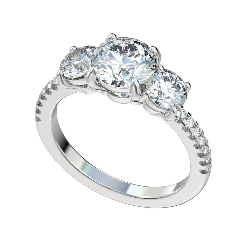 Three Stone Scalloped Basket Engagement Ring - Platinum