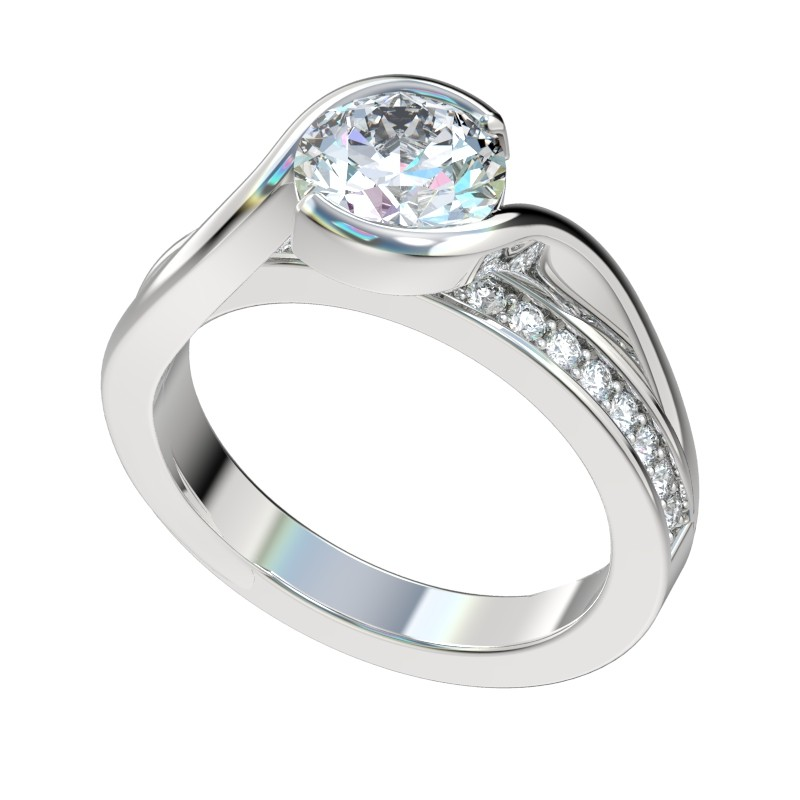 Elevated Half Bezel Bypass Engagement Ring - Platinum