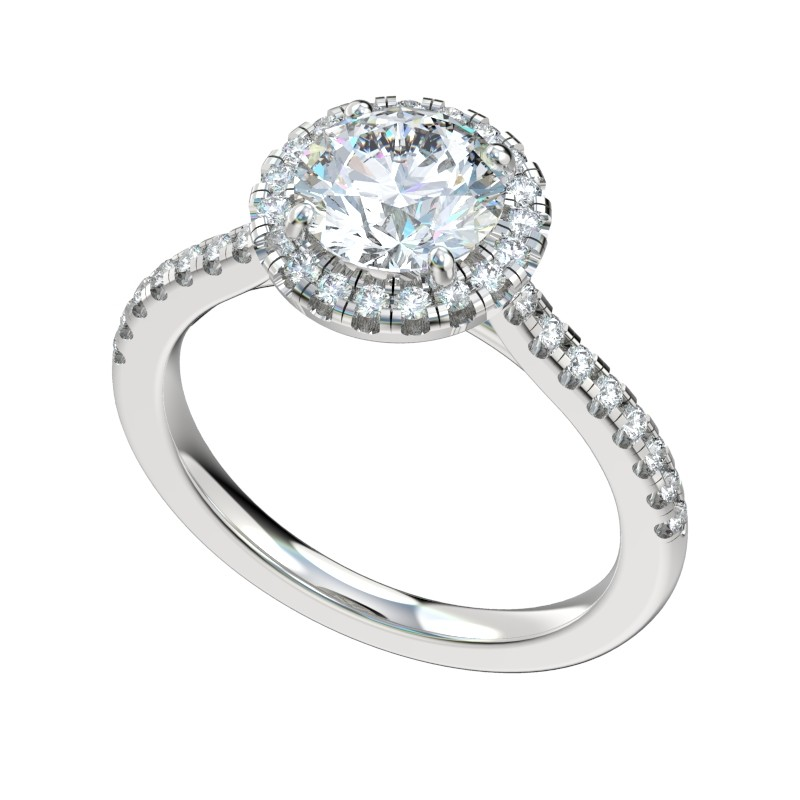 Faux Trellis Halo Engagement Ring - Platinum