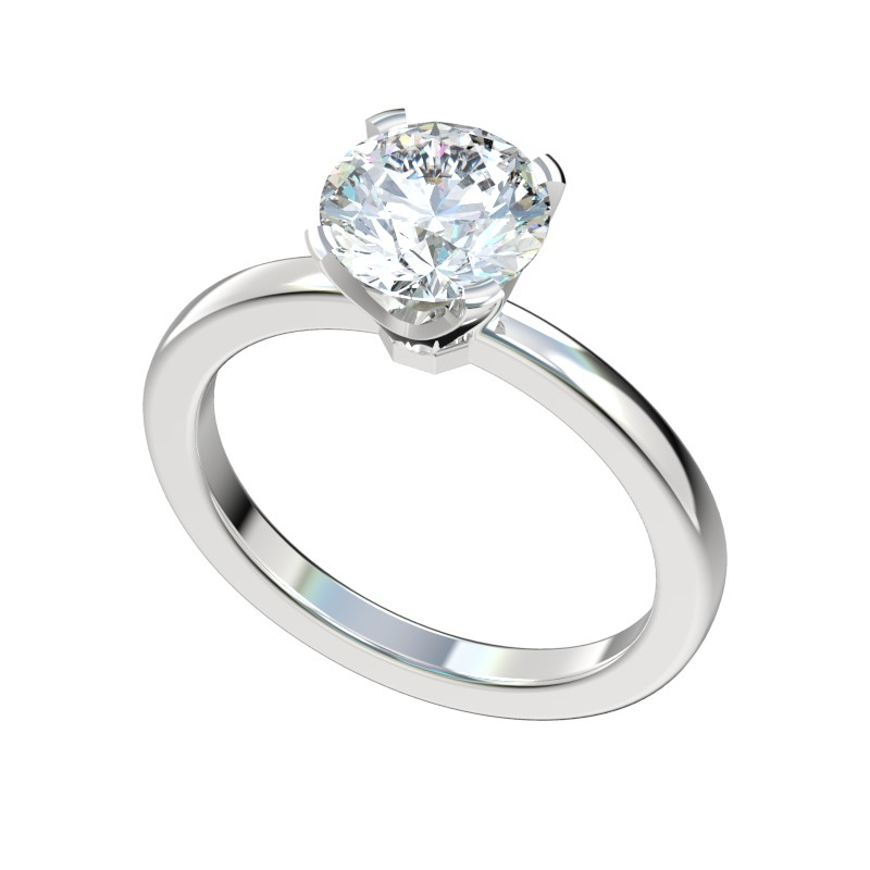 Petite Four Prong Solitaire Engagement Ring - Platinum