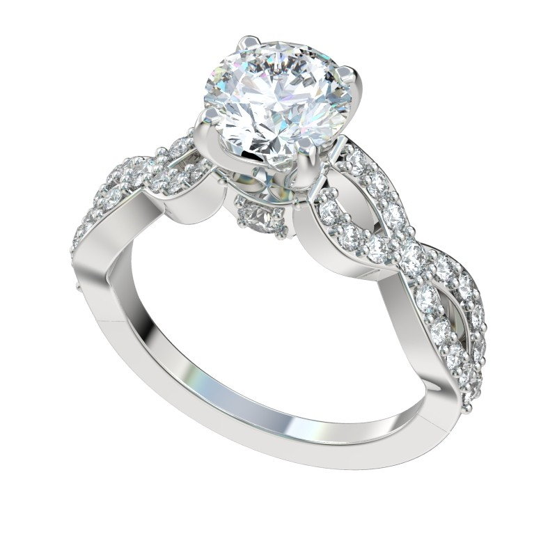 Four Prong Infinity Twist Engagement Ring - Platinum