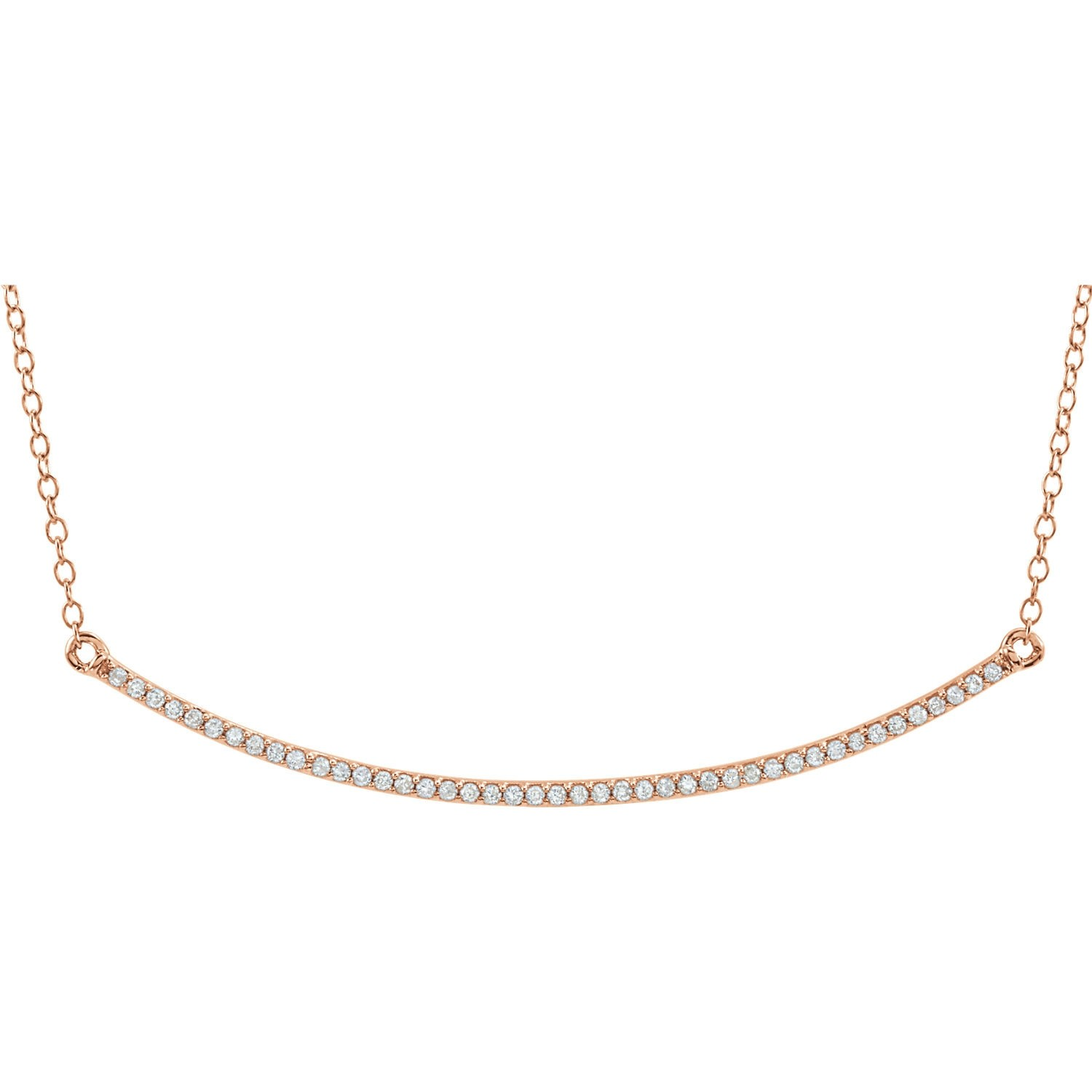 Diamond Slim Curved Bar Necklace Rose