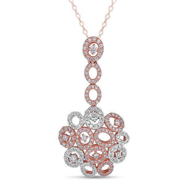 Rose Gold Circle Drop Diamond Pendant