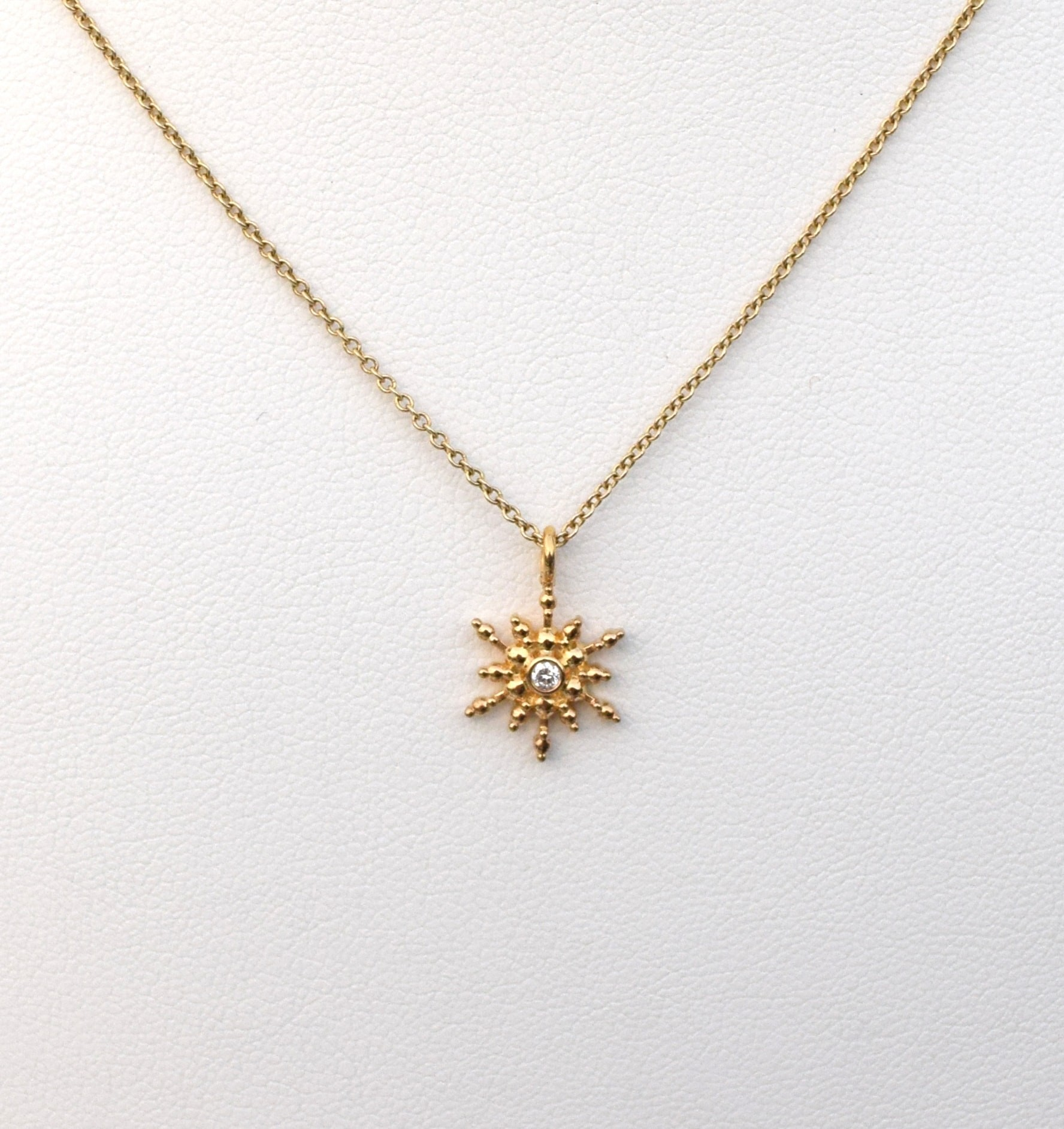 Snowflake / Starburst Diamond Pendant - Silver and 18k Yellow Gold