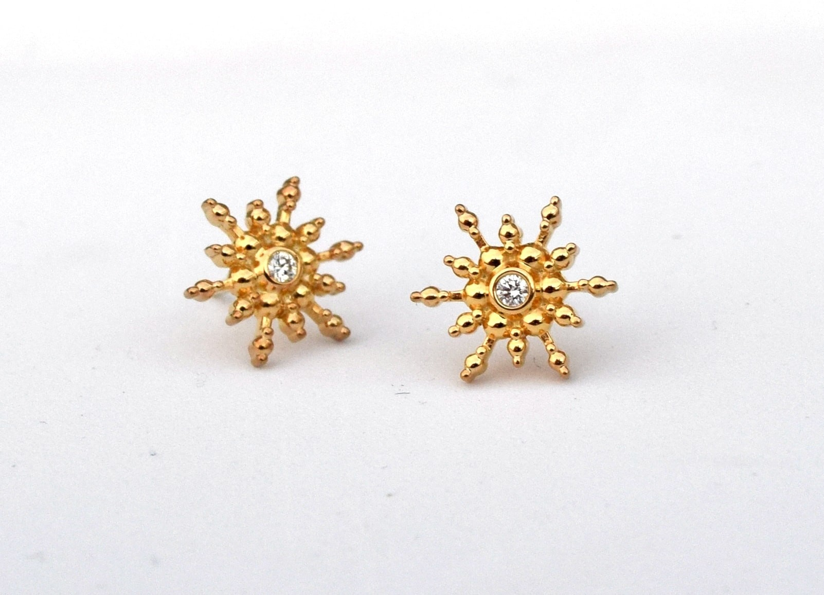 Snowflake / Starburst Diamond Stud Earrings - Silver and 18k Yellow Gold
