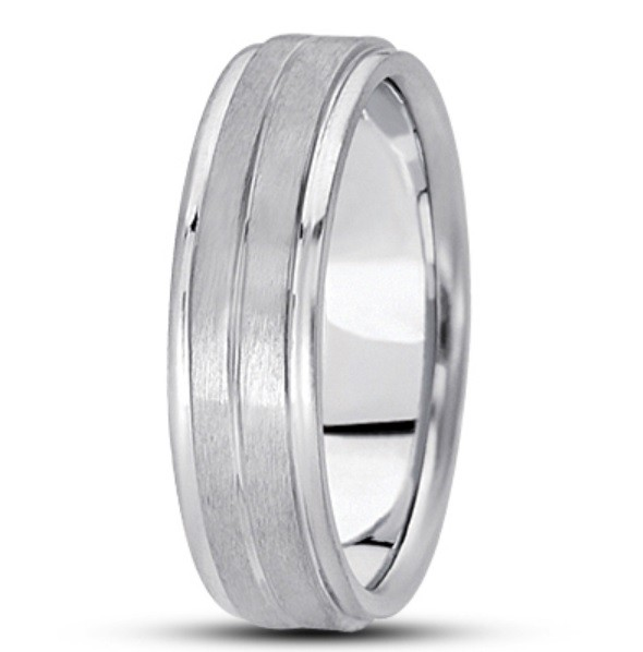 Single Groove Step Edge Wedding Ring - 6MM