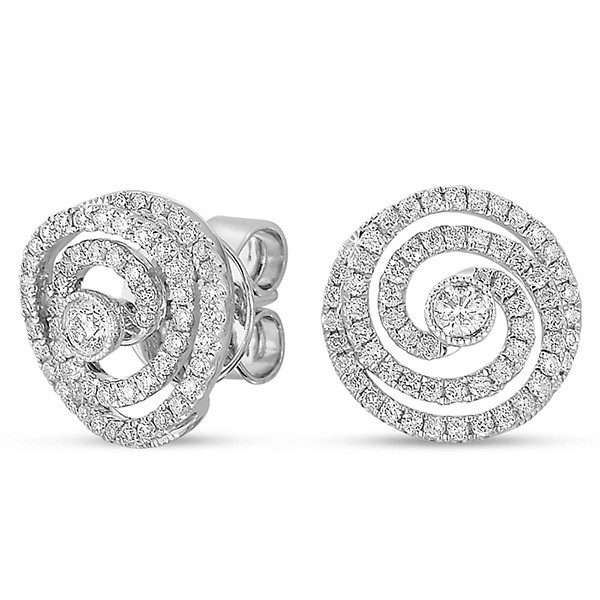 Spiral Round Diamond Earrings