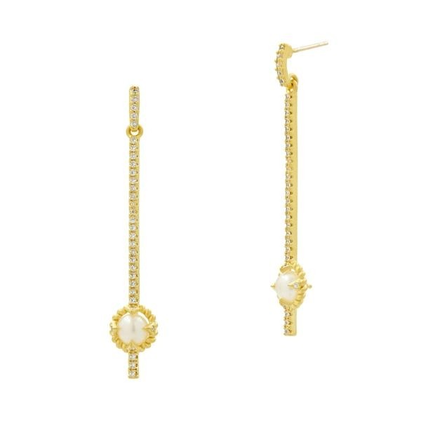 LINEAR DROP EARRINGS WITH PEARLS IN 14K GOLD