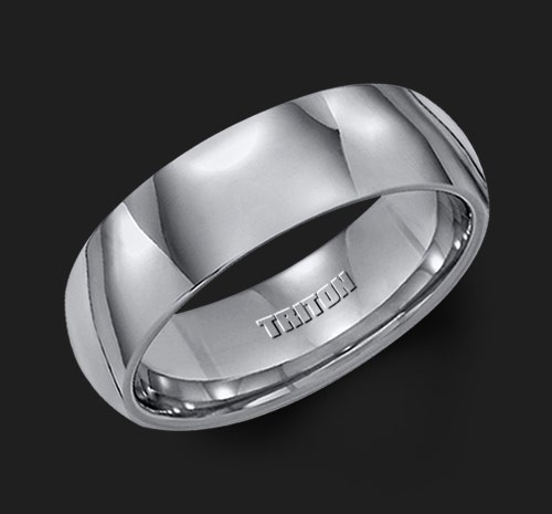 7MM Triton Gray Tungsten Half Round Wedding Band - Perspective