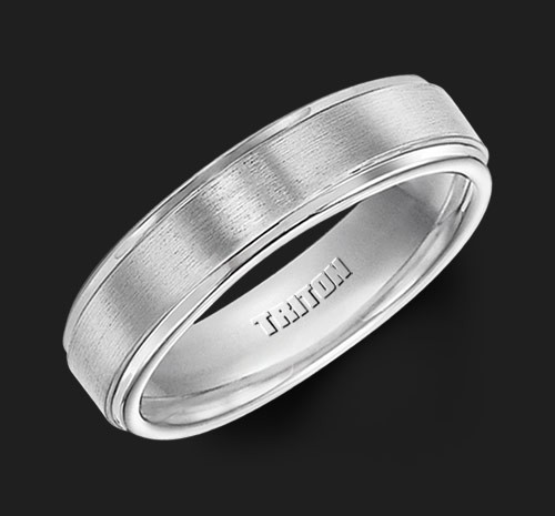 6MM Triton White Tungsten Step Edge Wedding Band - Perspective