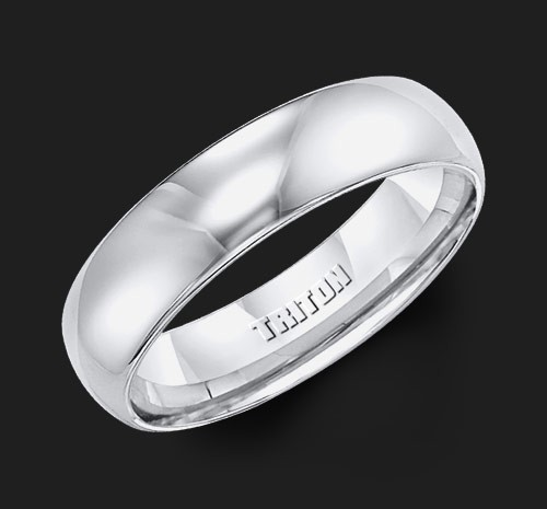 6MM Triton White Tungsten Half Round Wedding Band - Perspective