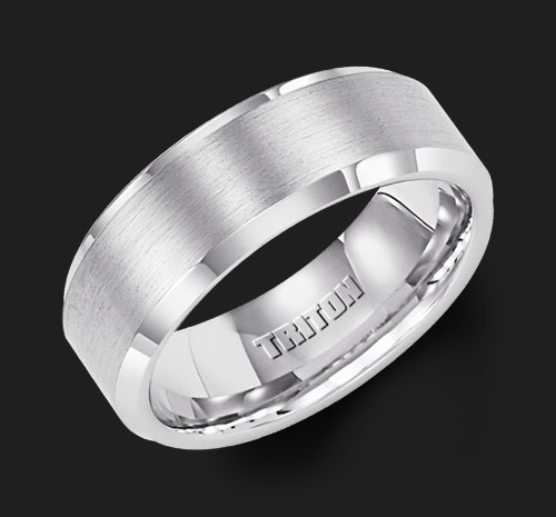8MM Triton White Tungsten Beveled Edge Wedding Band - Perspective