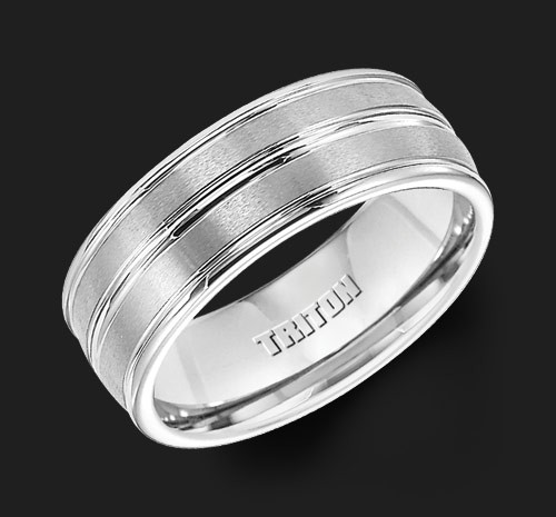 8MM Triton White Tungsten Single Groove Wedding Band - Perspective