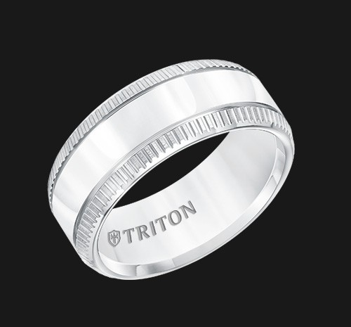 9MM Triton White Tungsten Grooved Edge Wedding Band - Perspective
