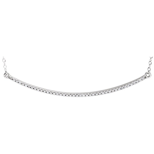 Diamond Slim Curved Bar Necklace White