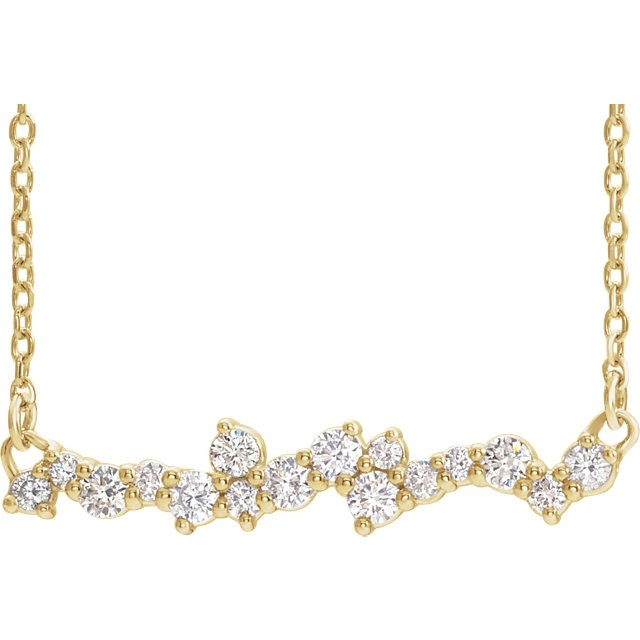 Diamond Scatter Bar Necklace Yellow