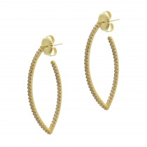 Signature Pointed Oval Pavé Hoop Earrings