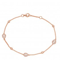 Diamond Teardrop Chain Bracelet Rose