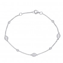 Diamond Chain Bracelet White